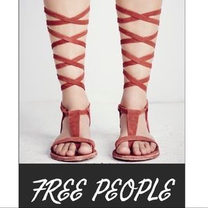 Free People red rust leather gladiator sandals 9.5